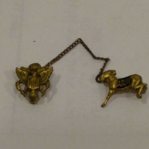 Vtg RARE WWII Army Mule Donkey Mascot Pin West Poi